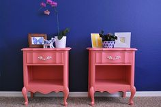 Bedside tables get a fresh look with paint.  The pink is so adorable.