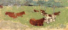 Edouard Vuillard (French, 1868-1940), Cows, c.1900. Oil on board, 27 x 60.3 cm.