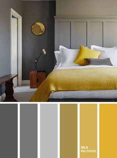 10 Best Color Schemes for Your Bedroom { Blue Grey + Mustard } With gold accents - mustard color bedroom, grey color palette, colour palette color colorpalette bedroom 849069335979820978 Grey Bedroom Colors, Grey And Gold Bedroom, Gold Bedroom Decor, Blue Bedroom, Diy Bedroom, Grey Walls, Accent Colors For Gray, Bedroom Ideas, Grey Bedroom With Wallpaper