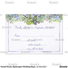 Pastel Petals, Hydrangea Wedding Reply Card