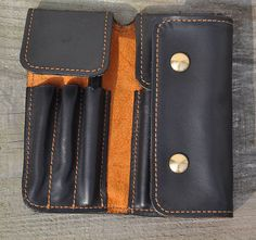 Handmade Leather Pen MXS case-pen bag for parker-black leather. via Etsy $53.40
