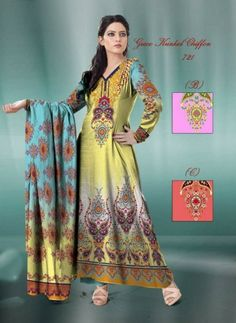 Elegant New Silk Chiffon Dress Collection 2014 For Winter (1)