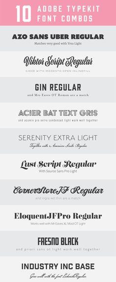10 Adobe typekit font combos                                                                                                                                                                                 More