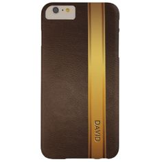 Royal Gold Stripe Custom Name Leather Background iPhone 6 Plus Case. #stripe #elegant #texture #custom #name #modern #sport #leather #gold #classy #royal #luxury #elite #tan #brown