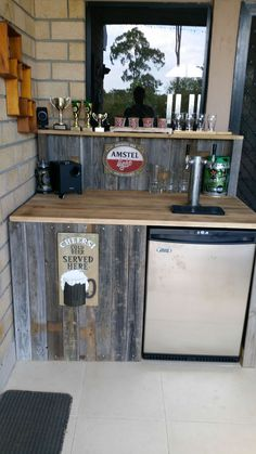 DIY rustic bar, ed from an existing cabinet, topped with metal ... on