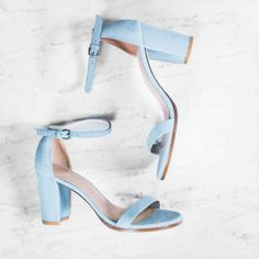 ea7036b5094 Reach for the sky in the NEARLYNUDE in Azure Suede.  StuartWeitzman Blue  Sandals