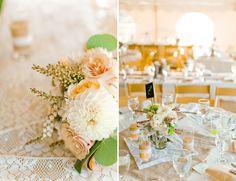 delicate-lace-ranch-wedding-reception-decor-centerpieces-peach-brown-cream-white