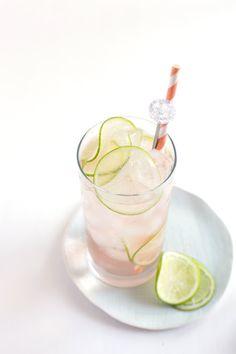 Lime Rosé Spritzer   dry rosé, St. Germain (elderflower liquor), lime, & seltzer water #cocktail #summer