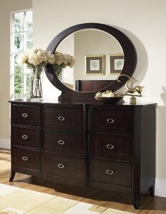 Crossroads Dresser and Mirror Set by Somerton. $1100.82. Dry/damp cloth only on furniture, no oil based cleaners. Satin nickel hardware. Inlaid Borders On Drawer Fronts. Rich cherry finish. Spot clean upholstery. This collection combines classical design elements with metropolitan styling to create a sophisticated transistional look that works in both traditional and contemporary room settings. Note: This is only the Crossroads Dresser and Mirror set. Other items in t...
