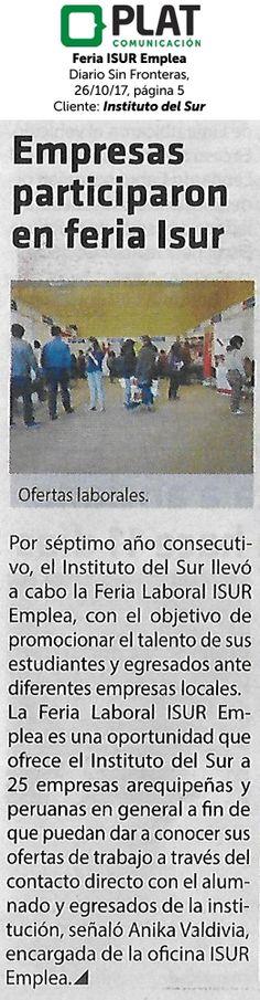 Instituto del Sur: Feria ISUR Emplea en el diario Sin Fronteras de Perú (26/10/2017)