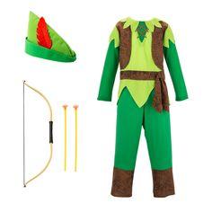 Voici un déguisement de Robin des Bois pour transformer les enfants en jeunes justiciers. Un pantalon, une tunique, un chapeau à plume, un arc et des flèches, le voilà prêt à aider les pauvres. Caché dans une forêt de Sherwood imaginaire, cet héros légendaire invente des histoires et des aventures toujours plus belles.