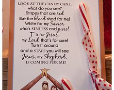 Legend of the Candy Cane Nativity Card, Printable Christian Card for Witnessing at Christmas, Jesus is the Reason for the Season Printable Christmas Art For Kids, Christmas Poems, Christmas Jesus, Christian Christmas, Diy Christmas Gifts, Christmas Nativity, Christmas Decorations, Christmas Things, Christmas Paper