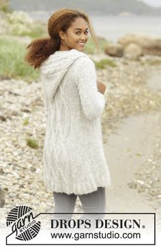 Melody of Snow by DROPS Design - a real cosy jacket with cables. Free knitting pattern