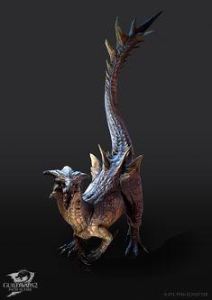 ArtStation - Path of Fire: Raptor, Kate Pfeilschiefter Guild Wars 2, Paths, Concept Art, Geek Stuff, Creatures, Fire, Artwork, Characters, Animals