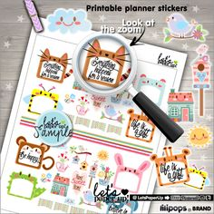 Stickers Set, Printable Planner Stickers, Spring Stickers, Animal Stickers, Erin Condren, Planner Accessories, Cute Stickers, Happiness