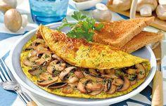 Omelett mit Kräuter-Pilzen - Schnelle Diät-Rezepte für jede Gelegenheit - Eiergerichte sind perfekt, wenn es schnell gehen soll. Egal ob Rührei, Pfannkuchen oder Omelett - Sie können Ihren Kühlschrank plündern und die Eier mit Gemüse, Speck oder Kräutern kombinieren...