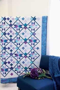 Berry Berry Blue Quilt Kit: Shades of blue and purple Malam batiks by Jinny Beyer for RJR Fabrics are featured in this beautiful throw quilt designed by Ramona Sorenson. This two-block design features easy strip piecing and star blocks on point with creative sashing.