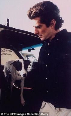 John Kennedy Jr    John F. Kennedy, Jr. w. his dog Friday getting out of a car at Big Sky ...