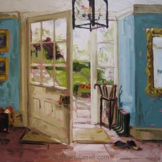 Roisin O'Farrell, artist from Ireland Peeling Paint, Irish Art, Vintage Interiors, Through The Window, Grand Entrance, Paintings I Love, Pictures To Paint, Acrylics, Cabins