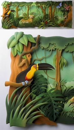 The works of Carlos Meira has impressed the world. He has a beautiful and detailed style of creating paper sculptures. This one makes me think of Disney's Jungle Book. It really takes a meticulous hand and mind in order to come up with a jungle as realistic as this