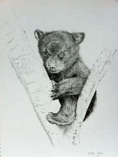 Bear Cub Head Line Drawing Collection - - Baby Bear Tattoo, Cubs Tattoo, Bear Tattoos, Tatoos, Animal Sketches, Animal Drawings, Pencil Drawings, Drawing Animals, Baby Bear Cub