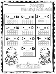 Winter Math for first grade Second Grade Math, First Grade, Grade 1, Math Classroom, Kindergarten Math, Teaching Math, Math Worksheets, Math Resources, Math Activities