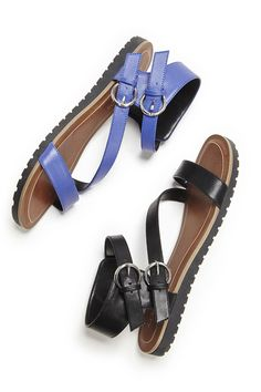 Sporty, comfortable leather strappy sandals in black & blue with asymmetrical straps and double buckles