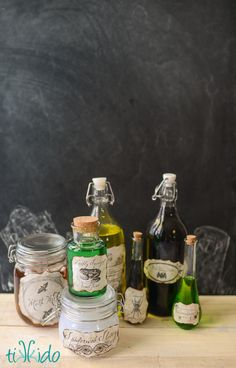 Tutorial for making creepy Halloween potion bottles, including free downloads for printable labels.