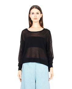 MARIOS S/S 2016 Black transparent sweater round neckline  back V-neck long sleeves asymmetric cut 84% VI 16% PL