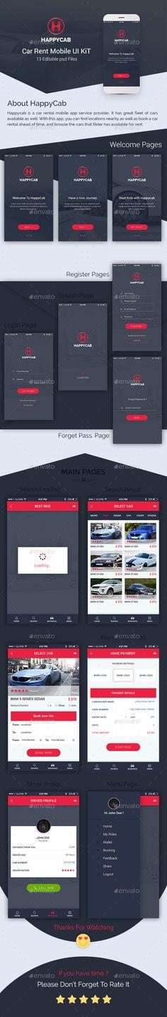 Happycab - Car Rent Mobile UI Kit (User Interfaces)