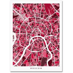 Trademark Fine Art Moscow City Street Map Iii Canvas Art by Michael Tompsett, Size: 14 x 19, Multicolor