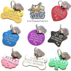 happypettag  ALL IN ONE listing Personalized Pet ID Tags  8 Shapes  Colors to Select  FREE Customized Engraved Dog ID Tags Cat ID Tags Double Sided FREE Engraving up to 3 Lines >>> Read more  at the image link. (Note:Amazon affiliate link) #DogIDTags
