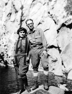 This is long before my trips to Mt. Baldy but reall cool. Couple hiking in Mt. Baldy   [ca. 1924]