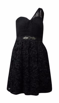 c837087d225  199 Adrianna Papell Black Mesh Rosette Applique One Shoulder Dress 8 NWT  A807  AdriannaPapell