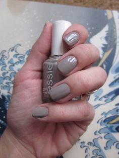 Essie light grey nail polish color called 'Master Plan'