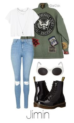 Run- Jimin  by ari2sk on Polyvore featuring polyvore, fashion, style, Monki, Topshop, Wet Seal, Dr. Martens and clothing