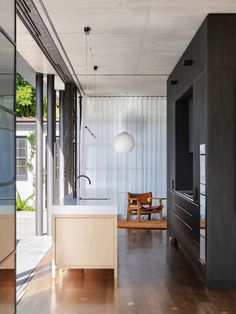 Australian Architecture, Interior Architecture, Open Space Living, Living Spaces, Marble Benchtop, Timber Kitchen, Privacy Walls, Indoor Outdoor Living, Black Kitchens