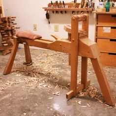 Brian's self-designed shave horse. One of the few pieces of furniture he's made completely for himself. #handtoolthursday #greenwoodworking
