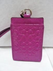 FREE SHIP - NWT! COACH Patent Leather Pink Embossed Liquid Gloss ID Lanyard F64097