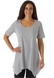 Plus Size Knit trapeze tunic with shark-bite hem, in stripes and solids