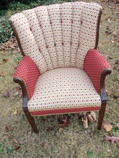 A vintage channel back upholstered chair designed for a client by Design Hound. Upholster Chair, Sofa Chair, Armchair, Funky Furniture, Furniture Upholstery, Painted Furniture, Couch Cushions, Rocking Chairs, Basement Ideas