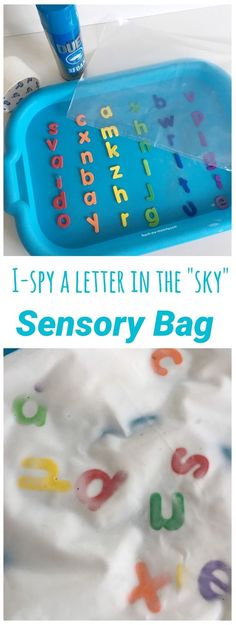 I-spy letters in the sky rainbow themed sensory bag to explore letter recognition for preschoolers to use as a busy bag or literacy center.