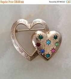 Rhinestone Heart Brooch Emmons Vintage Jewelry by OurBoudoir