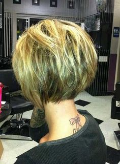 53 Latest Short Bob Haircuts for 2019 - Get Your Inspiration TODAY!, Latest Short Bob Haircuts Any girl can face a situation when deciding to make a new haircut, she learns about its irrelevance. But there are a number . Back Of Bob Haircut, Haircut And Color, Pixie Haircut, Care Haircut, Haircut Short, 2015 Hairstyles, Pretty Hairstyles, Hairstyle Ideas, Black Hairstyles