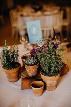 Centrepiece Decor Table Pot Plants Herbs Hornington Manor Wedding Richard Skins Photography #Centrepiece #WeddingDecor #WeddingTable #PotPlants #Herbs #Wedding