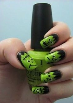 These Frankenstein nails are too cute not to try!