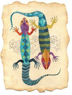 gennine's wonderfully colorful lizards! fun!!!