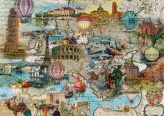 Balloon Flight through Europe.  (1000)