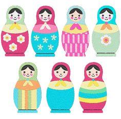 Russian Nesting Dolls Machine Embroidery