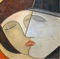 Le premier baiser  Peinture Bruno Schiepan  France